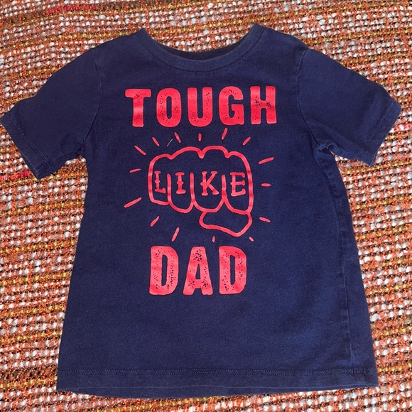 Tough like dad navy blue and red shirt